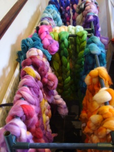 Freshly dyed wool in many colours