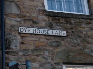 A road sign named Dye House Lane