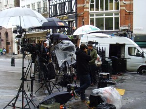 Miserable.  I often ponder if the camera men standing opposite the Royal Courts of Justice know that they can get a free sampling of a warm cuppa at Twinings.
