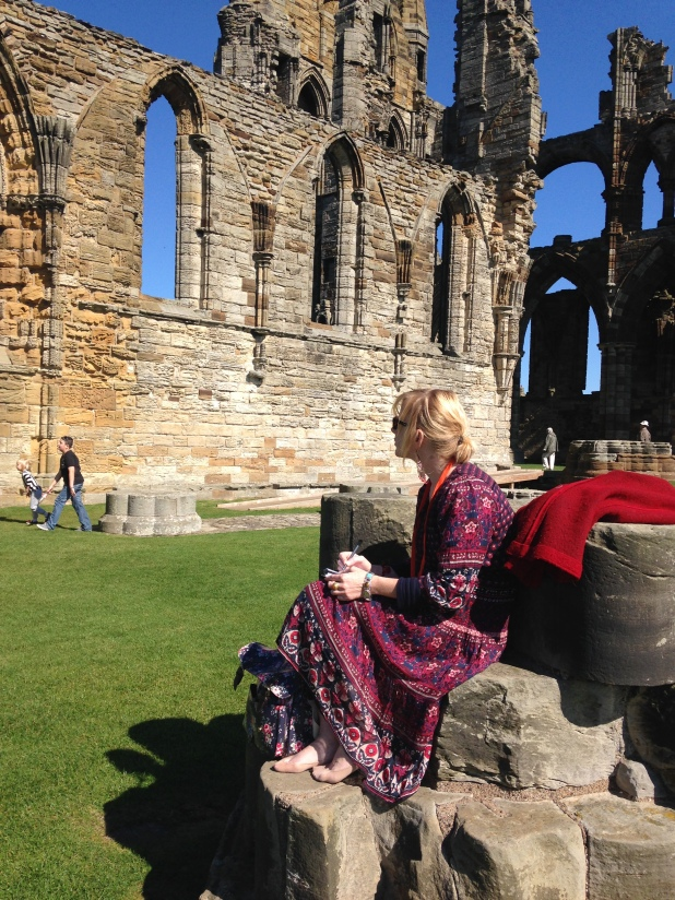 Me, sketching, at Whitby Abbey